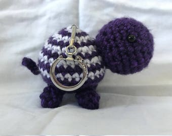 Crochet Turtle Keychain, Purple