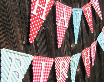 Red, Turquoise, White Happy Birthday Banner, Birthday Decorations,  Birthday Banner