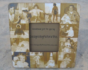 """Mother of the Bride Collage Picture Frame, Unique Custom Wedding, Christmas, Birthday Gift, Personalized Parent's Thank You Gift, 8"""" x 8"""""""