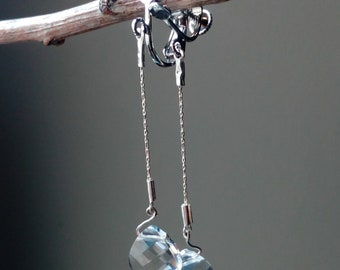 """Clips / """"Icedrop"""" in silver and Swarovski crystal earrings"""