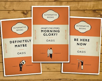 Britpop Book Cover Posters - Set of 3 - Oasis - First Three Albums - Alternative Book Cover Prints - Britpop Art (UK and US sizes available)