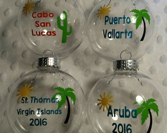 Beach Vacation Keepsake Sand Ornament Wedding Honeymoon DIY Christmas Gift Personalized *Optional Sand & Shells Included or Add Your Own*
