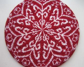 Nordic Winter Tam. Intricate beautiful beret. PDF knitting pattern