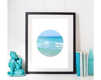 TROPICAL OCEAN PHOTO, Circle Print, Printable Wall Art, Ocean Print, Digital Download, Ocean Photography, Tropical Print Beach Cottage Decor