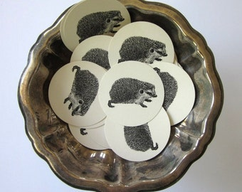 Hedgehog Woodland Tags Round Paper Gift Tags Set of 10