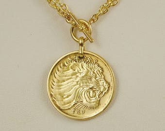 Ethiopia Coin Necklace Lion Head