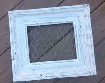 Chicken Wire Frame, chunky chickenwire, white chicken wire, farmhouse, Upcycled, Office Organization, Jewelry Storage, Memo Board