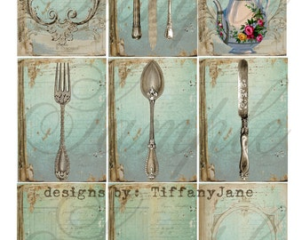 TiffanyJane-Tea Time Collage sheet-Instant Download collage sheet utensils teapot fork spoons knife  for art tags embellishments paper art