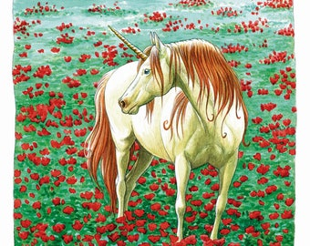 Unicorn with poppies - fine art print - signed and numbered