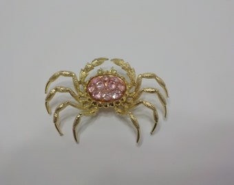 Bright Pink Rhinestone Crab Brooch (1085) How Cute Is This!!