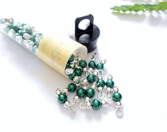 Tiny Dark Green Glass Pearl Dangle Beads