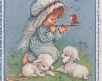 Used Christmas card, c1980s, girl with flute, bird, lambs, good shape