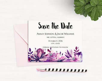 Succulent Wedding Announcement Template Mint Save The Date - Diy save the dates templates