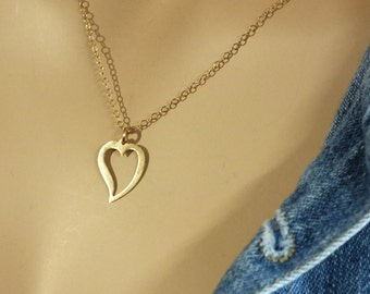 14k Gold Heart Necklace, 14k Gold Heart Necklace, 15 inch- 20 inch Everyday Solid Gold Necklace, Perfect 14k Gold Necklace for Gift