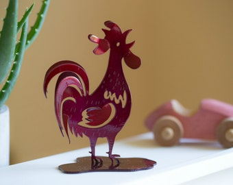Red hand forged wrought iron rooster