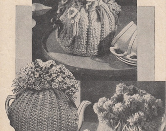 1940s TEA COSIES, PDF pattern for 3 wartime vintage knitted and crocheted tea cosies