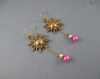 Tangled Sun Charm Earrings - Rapunzel - Gold Charms