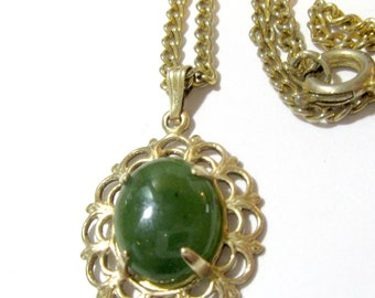 Vintage Necklace Gold Tone With 12K Gold Filled Jade Pendant