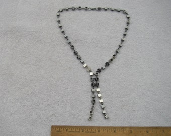 Super STUDIO MODERNIST Sterling Oxidized Cubes Link Necklace-16.5 Inches