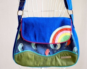 Ladies Messenger Bag, Crossbody Bags, Crossbody Vegan, Fabric Sling Bag, Rainbow Bag, Rainbow Messenger Bag, Lovebird Print, Parrot Fabric