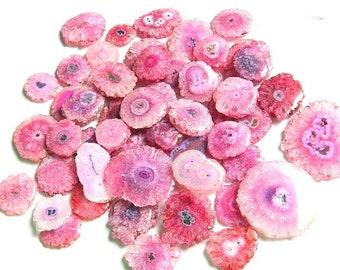 Pink Solar Quartz, Stalactite Slice, Natural Solar Quartz Slices, druzy solar quartz flower, Pink solar, Druzy Agate