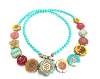 Czech Bead Flower Necklace Beaded Necklace Flower Necklace Czech Necklace Vintage Look Chunky Melon Yellow Red Lime Turquoise Boho Jewelry