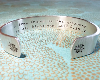 Maid of Honor Gift | A true friend is the greatest of all blessings. MOH (Wedding date) | Hand Stamped Bracelet by MadeByMishka
