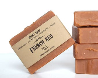 Soap All Natural Soap Bar Clay Soaps Detox Soap Vegan Unscented Soap Handmade French Red Clay