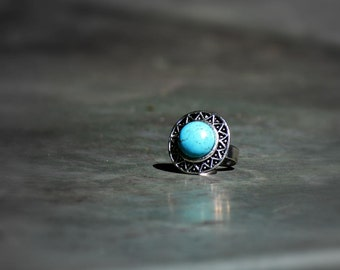 Turquoise Ring, Statement Ring, Antique Silver Adjustable Ring, Cocktail Fashion Rings, Blue Ring, Stacking Ring, Bold Rings