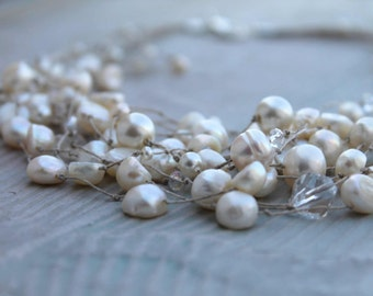Wedding Jewelry Bridal Pearl Necklace / Bridesmaid Necklace /  Floating Necklace / Illusion Necklace/ Genuine Pearl Necklace / White Cream