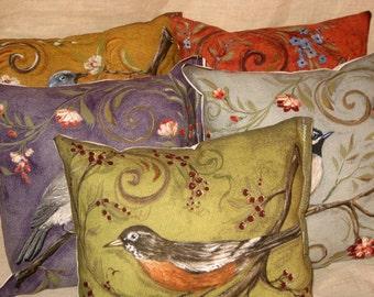 Shabby Chic Fun Throw Pillow set with Bird Motif French Market Design Floral Handmade Pillow Set of 5