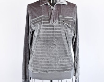 Striped Grey Velour Sweatshirt || Super Soft Long Sleeve Top