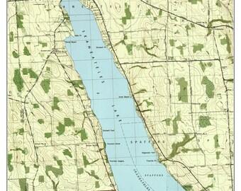 Skaneateles - 1943 USGS Old Topographic Map  Custom Composite Reprint New York Finger Lakes