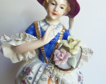 Porcelain Lady - Porcelain Figurine - Made in Japan