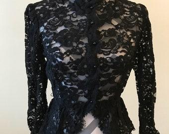 1940's lace blouse/ peplum blouse