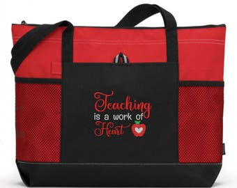 Teacher Appreciation Gift/ Teacher Tote Bag/ Teacher Gift/ Embroidered Teaching Is A Work Of Heart with Small Apple Teacher Tote Bag