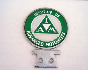 Vintage Institute Of Advanced Motorists (IOA) Green Motorcyclist Badge For Motorbike enthusiasts, Car and Bike badge collectors