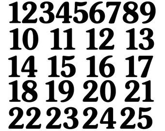 1/2 inch to 4 inch Vinyl Custom Numbers 1 to 25 Decal sports helmet rounded style