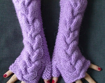Fingerless Gloves Lavender Lilac Cabled  Arm Warmers, Extra Long Thick and Soft