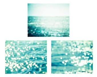 nautical decor abstract photography bokeh print set 8x10 11x14 fine art photography beach coastal prints ocean photography teal aqua water