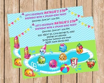 Shopkins Pool Party Invitation