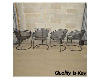 4 Vtg Mid Century Modern Iron Metal Mesh Patio Barrel Dining Chairs Woodard Era
