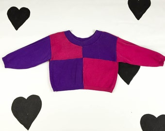 80's 90's cropped colorblock knit crop top 1980's pink purple cotton sweater shirt / boxy / loose / fuchsia / cropped shirt sweater / M L
