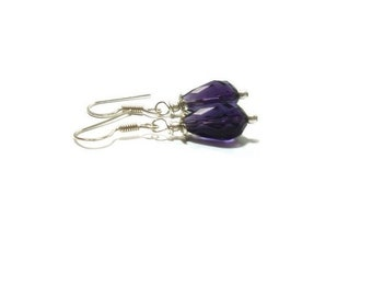 Genuine Amethyst Earrings , Sterling Silver Ear Wires  , Gift For her