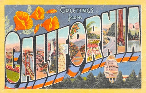 California big letters vintage postcard instant download retro california big letters vintage postcard instant download retro postcard image art deco design floral art greetings from california ca from m4hsunfo Gallery