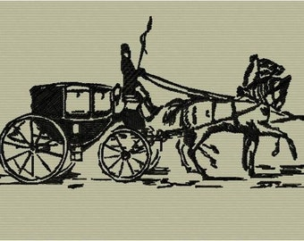 Machine embroidery of a carriage drawn by horses format 5 x 7