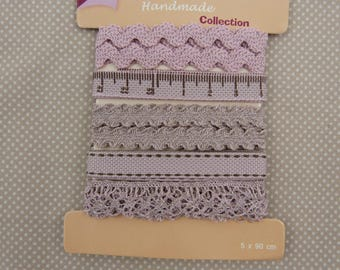 set of five ribbons and lace, old rose