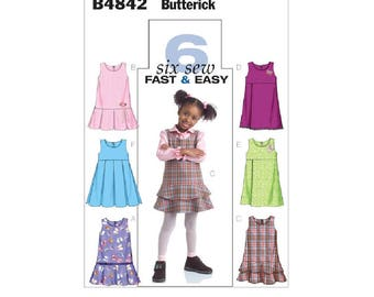 Butterick 4842 - Toddlers'/Children's Drop or Raised-Waist Jumpers [out of print]