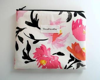 Pink Floral Zipper Bag, White Pencil Pouch, Black Zipper, Pink Lining, Make Up Zipper Bag, Orange Pink Flowers