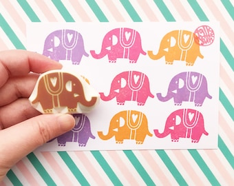 elephant rubber stamp | woodland stamp | diy birthday baby shower card making | animal stationery | hand carved stamp by talktothesun
